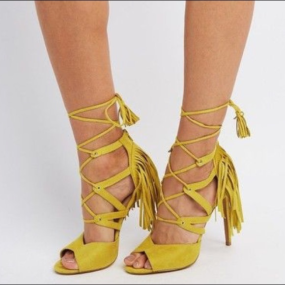 78f3795b172c Charlotte Russe Shoes - Charlotte Russe Fringed Lace Up Sandals